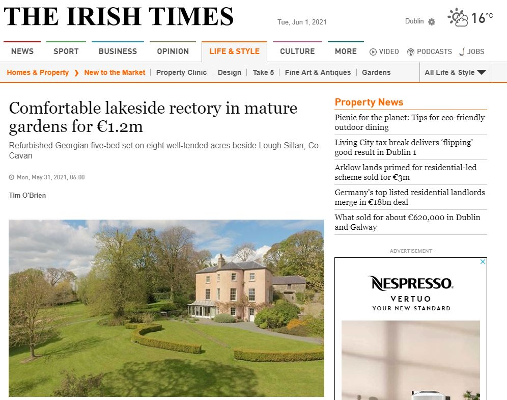 Comfortable lakeside rectory in mature gardens for €1.2m