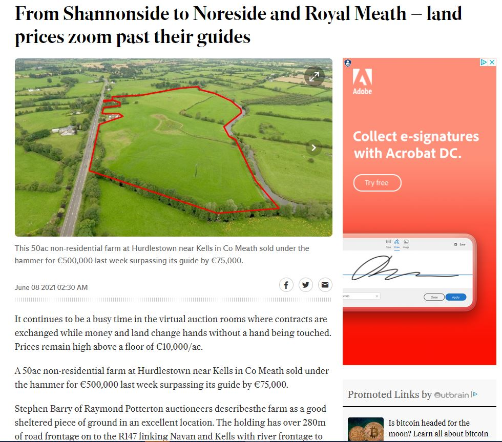 From Shannonside to Noreside and Royal Meath – land prices zoom past their guides